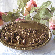 Bronze-Plated Metal Jewel Box w/ Scene