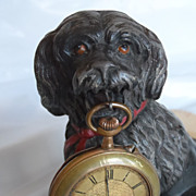 Victorian / Edwardian Figural Dog Pocket Watch Holder and Watch