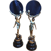 Pair of Antique Spelter Metal Figures holding Mirrors