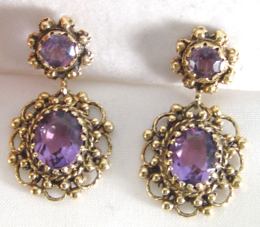 Victorian Revival Drop Earrings 14K Amethyst
