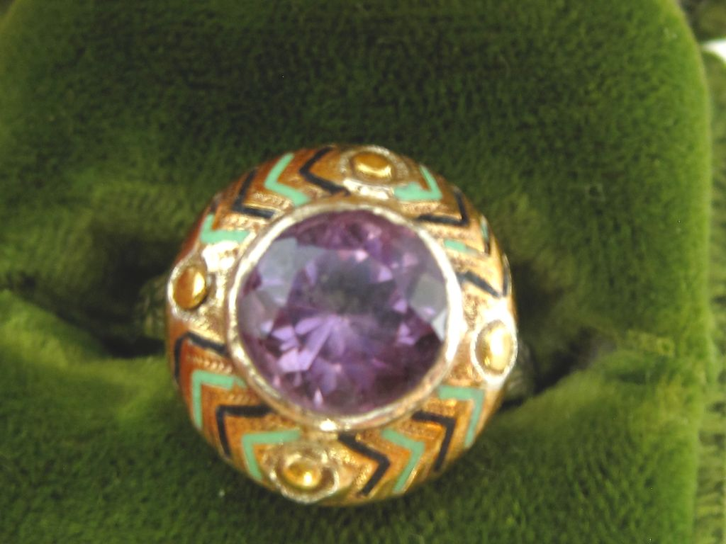Art Deco Egyptian Revival 14K Amethyst & Enamel Ring