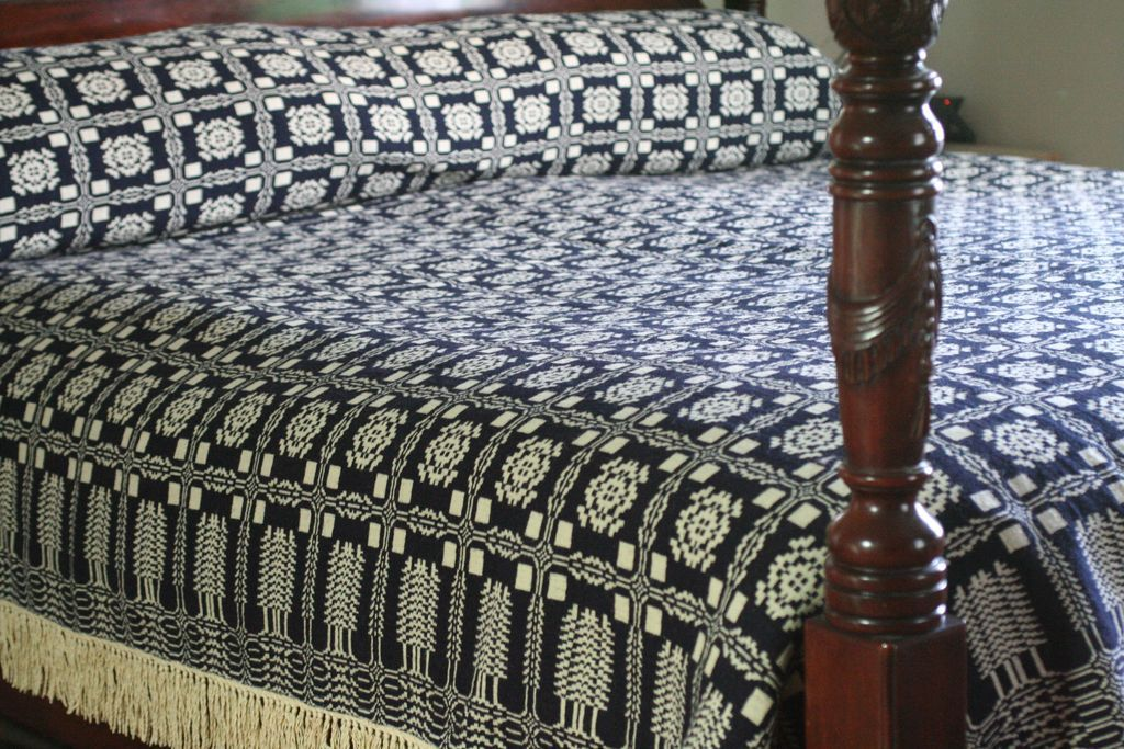Goodwin Guild Overshot Snowflake Wool Coverlet