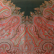SOLD Antique Paisley Scarf Exquisite Design Jacquard Hand Loom Woven Wool Over-sized