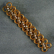 Miriam Haskell Gold-tone Glass Seed Pearl Bar Pin Signed