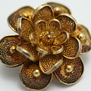 Hand-crafted Antique Filigree Flower Pin