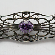 Amethyst Sterling Filigree Brooch Art Nouveau