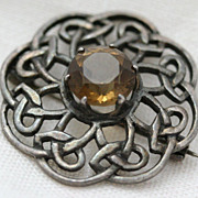 Scottish Sterling Knot Citrine Hall-marked Brooch or Pendant