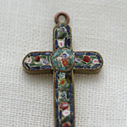 Micro-Mosaic Italian Cross Pendant