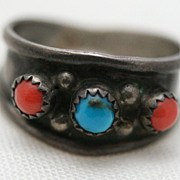 Old Pawn Silver Native American Navajo Turquoise and Coral Men's Ring