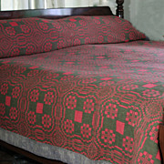 SOLD Early 19th Century Hand-woven Madder Red and Walnut Brown Wool Coverlet