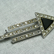 Modernist Uno A Erre Rhinestone, Black Onyx and Sterling Pin Brooch