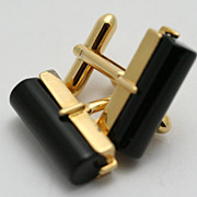 Black Onyx Gold-tone Cuff Links