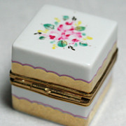 Limoges Miniature Trinket Box Floral Design Gold Detailing Hand Finished