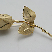 Giovanni Gold-tone Satin Finish Rose Pin