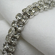 Signed Eisenberg Crystal Rhinestone Bracelet with Trademark S Motif