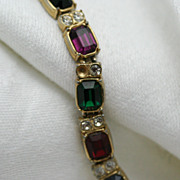 Signed Blanca Jewel-tone Emerald Cut  Rhinestone Bracelet