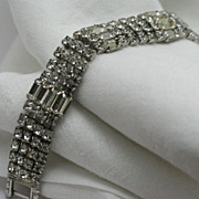 Silver-tone Clear Rhinestone Bracelet Round Cut and Emerald Cut