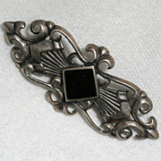 Signed KBN Sterling and Black Onyx Scroll Bar Pin