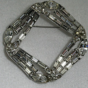 Designer Rhinestone Square Ribbon Brooch Pin