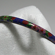 Cloisonne Bracelet Floral Motif on Blue Background Bangle