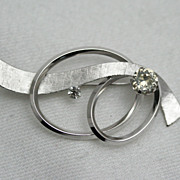 Signed  Modernist Van Dell Sterling Overlapping Oval Rings with Ribbon and Rhinestones