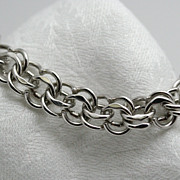 Signed Elco Sterling Bracelet Double Link Heavyweight