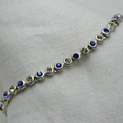 Faux Sapphire and Clear Rhinestone Bezel Set Silver-Tone Tennis Bracelet