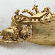 Signed AJC Noah's Ark Brooch Gold-toned Pin