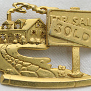Signed AJC Realtor House For Sale Sold Gold-tone Pin Brooch