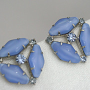 Opaque Milky Blue Glass and Rhinestone Earrings