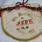 19th Century Special Occasion Money Purse with Fine Hand Embroidery Museum Deaccession