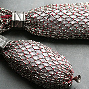 Victorian Miser Bag Metallic Glass Beads Netting with Wine Silk
