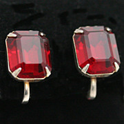 Faux Ruby Rhinestone Earrings Single Emerald Cut Stone Silver-tone
