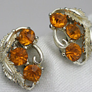 Amber Faux Rhinestone Earrings Silver-tone Leaf and Scroll Motif