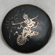 Thailand Niello Pin Brooch Sterling Depicting Mekkala Goddess of Lightning