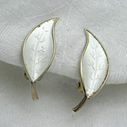 David Andersen White Enameled Leaf Motif Sterling Earrings Norway