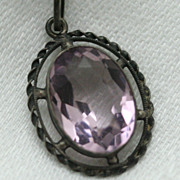 Delicate Edwardian Bezel Set Amethyst Oval Pendent and Chain
