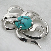 Swirl Silver and Turquoise Brooch Ribbon Garland