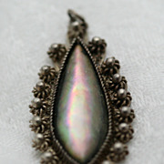 Mother of Pearl Teardrop Silver Filigree Pendant