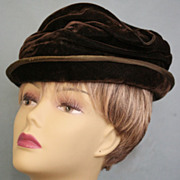 Edwardian Brown Silk Velvet and Taffeta Toque Hat c 1916