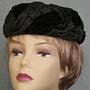 Black Satin and Velvet Braided Pillbox Hat c 1960