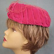 Hand-made Designer Fuchsia Silk Velvet Pillbox Hat Pleated Side c1960s