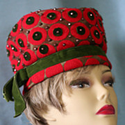 Stunning Mr John Jr Red and Olive Wool Felt and Velvet with Bronze Studded Toque Hat