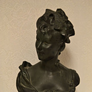 SALE Very Nice French Victorian Art Nouveau Plaster Maiden Bust C. 1880-1900