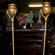 "Beautiful Signed Tiffany Studios 19"" Gold Dore Bronze Candlesticks Circa 1905"
