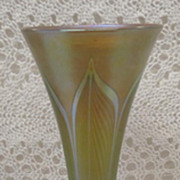 Beautiful Signed Tiffany Favrile Glass Gold Dore Bronze Trumpet Vase