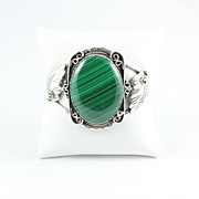 Vintage Navajo Sterling Silver Cuff Bracelet with  Malachite