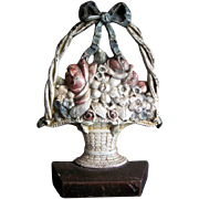 Cast Iron CJO Doorstop  Mixed Flowers in Wicker Basket