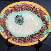 19th C. Decorative  Majolica Begonia Center Serving Platter