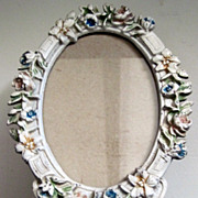 Cast Iron Picture Frame with Flowers in Original Paint